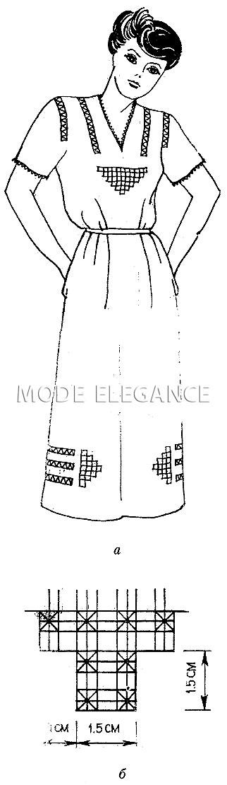 Платье, оформленное крестецкой